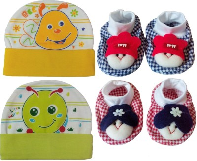 Kerokid Cutee Bee Little Worm Caps & Dark Checks face Booties Baby care Combo set