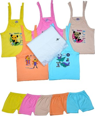 Sathiyas Baby Top & Bottom with Baby Towel(Multicolor)