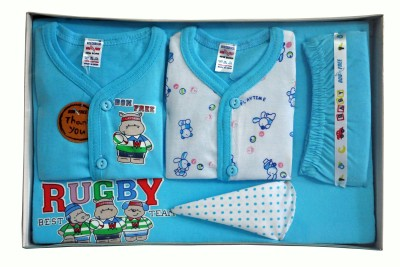 Bonfree BelleGirl 100% Cotton New Born Gift Set of 5 Pcs Blue 0-3M