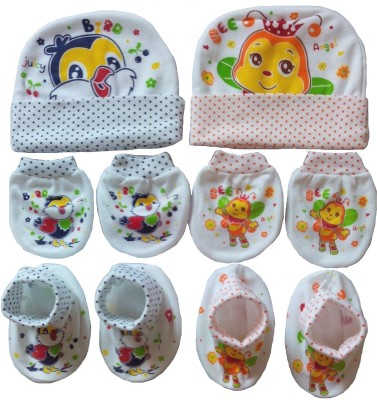 Kerokid Juicy Bird & Orange Angel Bee Mittens Booties Caps Baby Care combo set