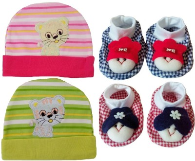 Sonpra New Born Baby Cotton Embroidered Caps Booties Combo Set (0-3 Month)