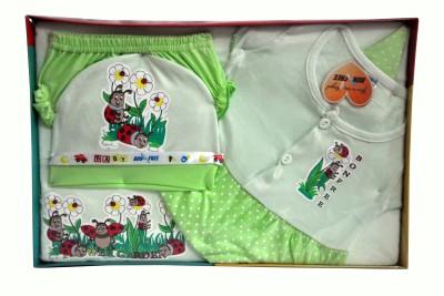 Bonfree BelleGirl 100% Cotton New Born Gift Set of 5 Pcs for Girl Green 0-3M