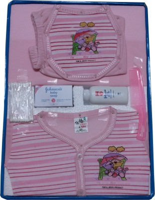 Jerry & Tom 8 Pcs Pink Baby Combo Gift Set