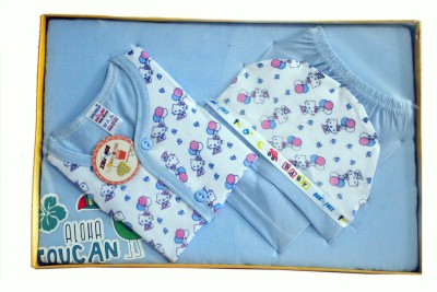 Bonfree BelleGirl 100% Cotton New Born Gift Set of 4 Pcs Premium Blue 0-3M