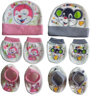 Kerokid Cotton Play Bee & Sweet Mouse Lining Mittens Booties Cap Baby Care combo set