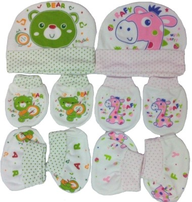 Kerokid Music Bear & Pink Rafy Mittens Booties Caps Baby Care Combo Set