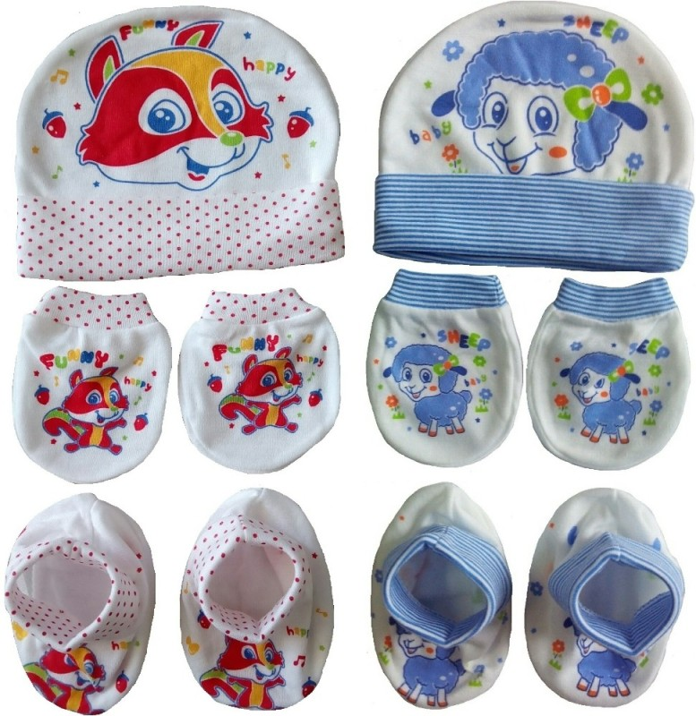 Sonpra New Born Baby Cartoon Printed Soft Cotton Caps Booties...