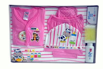 Bonfree BelleGirl 100% Cotton New Born Gift Set of 8 Pcs Pink 0-3M