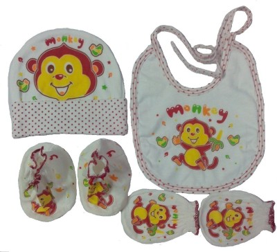 Kerokid Cute Monkey Mittens Booties Cap Bib Baby Care combo set