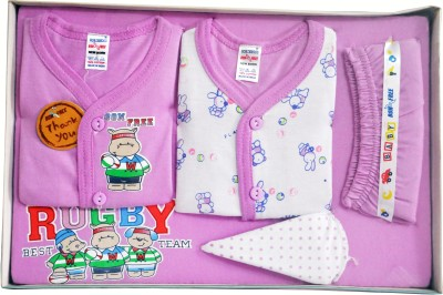 Bonfree BelleGirl 100% Cotton New Born Gift Set of 5 Pcs Purple 0-3M