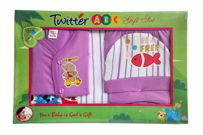 Bonfree BelleGirl 100% Cotton New Born Gift Set of 4 Pcs Regular Purple 0-3M
