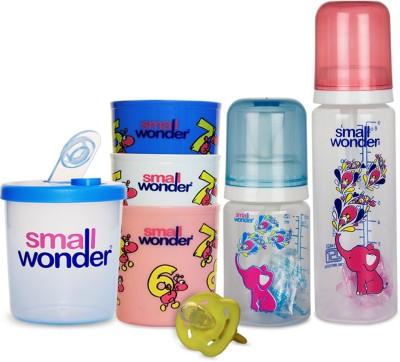 Small Wonder Pure Set of 5 - Pure 125ml & 250ml PP Bottle, 300ml Polypropylene Feeding Glasses set of 3, LSR Soother Yellow, 300ml Polypropylene Milk Powder Dispenser Blue