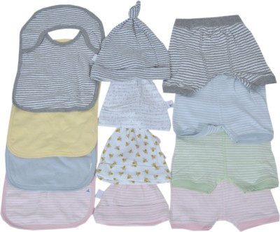 Sonpra Baby Caps Bibs Shorts Super Smile Combo-(0-6 Month)