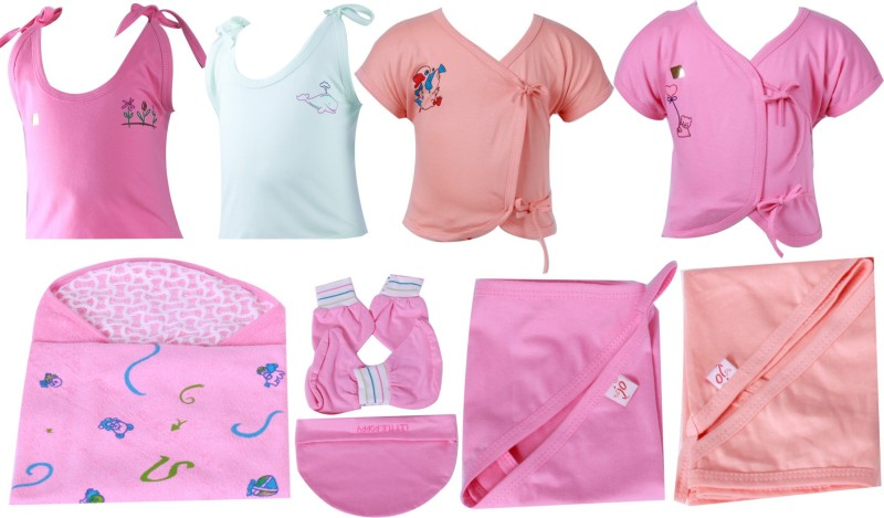 Jo Kidswear Baby Boys and Girls Gift Pack ( 9 Pcs )(Pink)