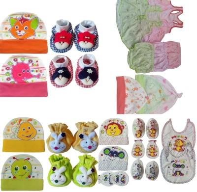 Kerokid Cotton Frocks Bloomers Caps Mittens Booties Bibs Baby Care Jumbo combo set(Multicolor)