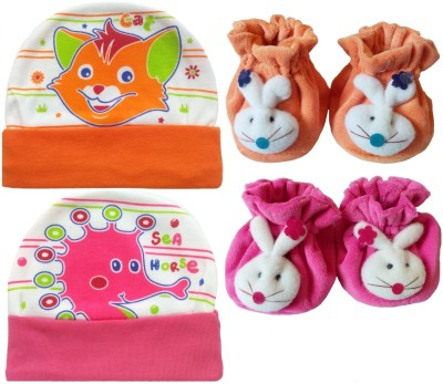 Kerokid Cutee Cat Sea Horse Cotton Caps & B12 face Booties Baby care Combo set