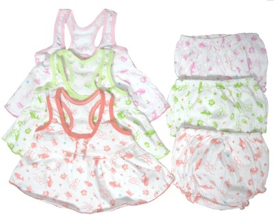 Kerokid Baby Frocks & Bloomers Big Combo Set(Orange, Pink, Green)