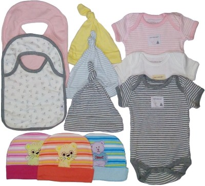 Sonpra Sonpra Baby Bibs Caps Bodysuits Organic Soft Cotton Combo (0-3 Month Baby)