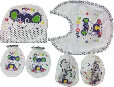 Kerokid Cute Mouse Mittens Booties Cap Bib Baby Care combo set