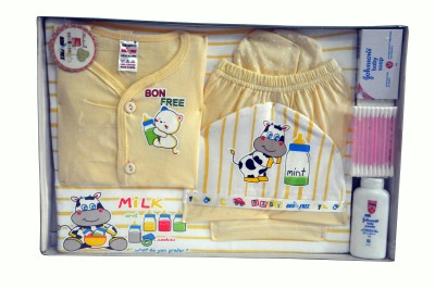 Bonfree BelleGirl 100% Cotton New Born Gift Set of 8 Pcs Cream 0-3M