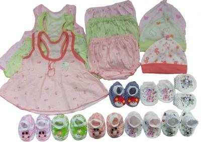 Kerokid Cutee Frocks Bloomers Mittens Booties Caps Jumbo Baby Girls Combo Set(Multicolor)