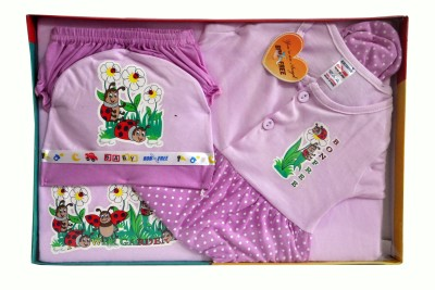 Bonfree BelleGirl 100% Cotton New Born Gift Set of 5 Pcs for Girl Purple 0-3M