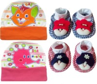 Kerokid Cutee Cat Sea Horse Cotton Caps & Dark Checks face Booties Baby care Combo set(Multicolor)