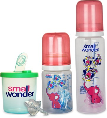 Small Wonder Pure Red Set of 4 - BPA Free Pure Red 125ml & 250ml PP Bottle, 300ml Powder Dispenser Green & Orthodontic LSR Pacifier