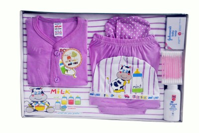 Bonfree BelleGirl 100% Cotton New Born Gift Set of 8 Pcs Purple 0-3M