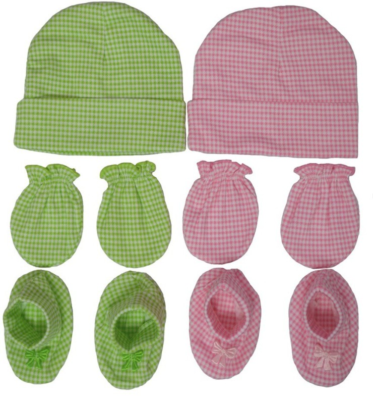 Kerokid Light Green & Pink Checks Mitten Bootie Cap Combo Set(Green, Pink)