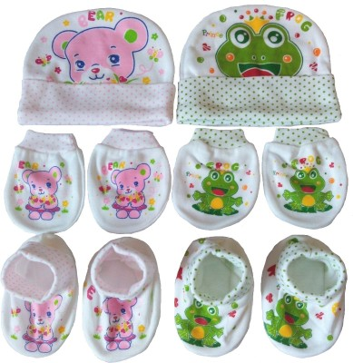 Kerokid Pink Bear & Green Frog Mittens Booties Caps Baby Care combo set