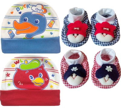 Kerokid Cutee Duck Owl Flower Cotton Caps & Dark Checks face Booties Baby care Combo set