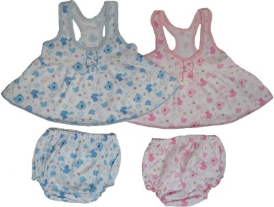 Sonpra New Born Baby Girl's Printed Cotton Frocks Bloomers Combo Set (0-6 Month)