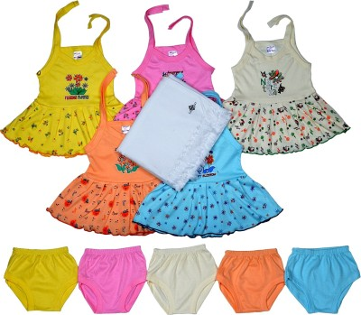 Sathiyas Baby Dress with Baby towel(Multicolor)
