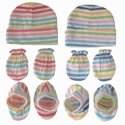 Sonpra New Born Baby Cotton Caps Booties Mittens Combo set (0-3 Months)