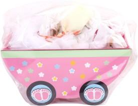 NeedyBee Newborn Baby Girls 7 Pcs. Layette Baby Gift Set in Pink(Multicolor)