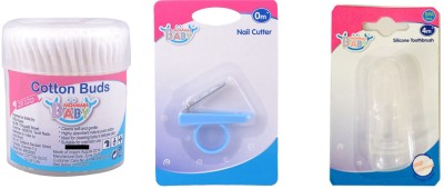 MOMMAS BABY COMBO OF 3PCS COTTON BUDS 200PCS / NAIL CUTTER / TOOTHBRUSH
