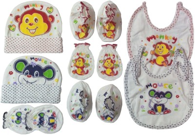Kerokid Monkey Mouse Mittens Booties Cap Bib Baby Care combo set