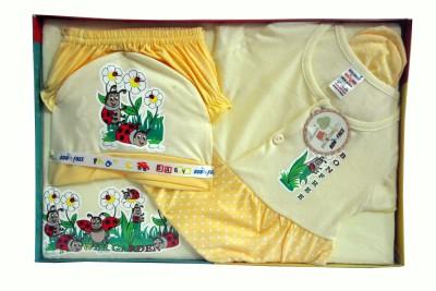 Bonfree BelleGirl 100% Cotton New Born Gift Set of 5 Pcs for Girl Cream 0-3M