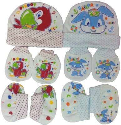 Kerokid Sailor Rabbit & Hello Parrot Mittens Booties Caps Baby Care Combo Set