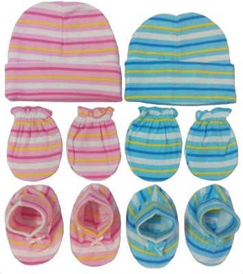 Kerokid Lining Blue & Pink Mittens Booties Caps Baby Care combo set