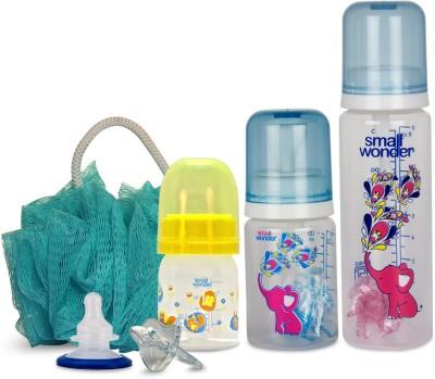 Small Wonder Pure Plus Blue Set of 6 - Pure Plus 125ml & 250ml Blue PP Bottle, Admire 60ml PP Bottle, Orthodontic LSR Paciefier, Breast Shield, Body Scrub Loofah Green