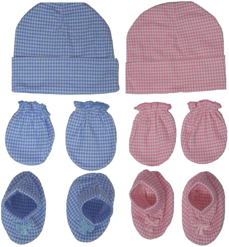 Kerokid Light Pink & Blue Checks Mitten Bootie Cap Combo Set(Pink & Blue)