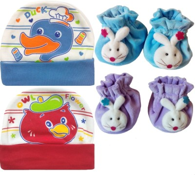Kerokid Cutee Duck Owl Flower Cotton Caps & B12 face Booties Baby care Combo set