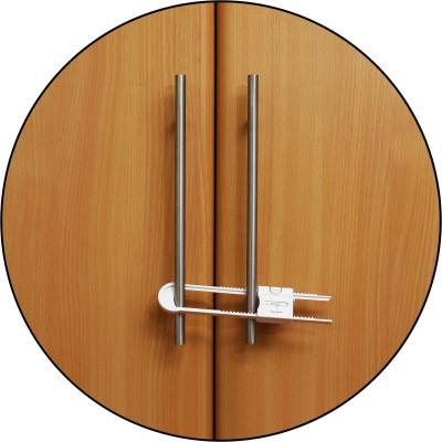 Safe-O-Kid U-Shaped, adjustable Cabinet Lock with secret childproof lock (Pack of 4)(White)