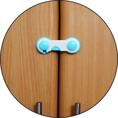 Safe-O-Kid Easy to Use, Durable, Colorful Child Proof Cabinet Lock (Pack of 2)(WHITE & BLUE)
