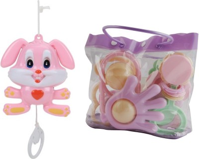 New Pinch Baby Pouch of 7 pcs Rattle with String Musical Toy Rattle
