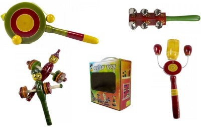 CeeJay Set of 4 Colorful Wooden Baby Toys:Model RA-OW006 Rattle
