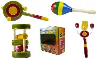 CeeJay Set of 4 Colorful Wooden Baby Toys:Model RA-OW009 Rattle