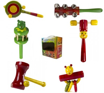 CeeJay Set of 6 Colorful Wooden Baby Toys:Model RA-OW022 Rattle